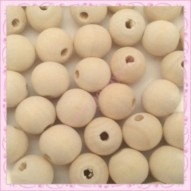 100 perles 16mm rondes en bois