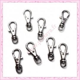 20 petits mousquetons porte-clefs argentés de 2.3cm