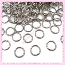 500 anneaux 8mm argentés foncés en métal