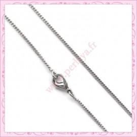 5 colliers en chaine serpentine 45cm argentée foncée
