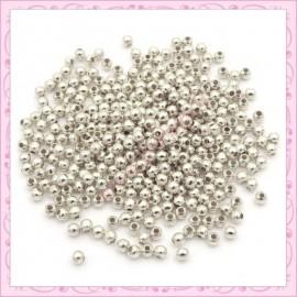 1000 perles 3mm rondes en métal argentées