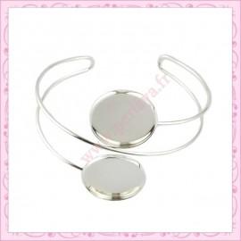 1 bracelet double avec support cabochon 20mm argenté en métal