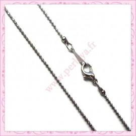 5 colliers en chaine bille 1mm 42cm argentée foncée