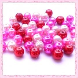 mix de 50 perles en verre nacré rose-rouge 8mm