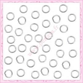 500 anneaux en métal argentés 4mm