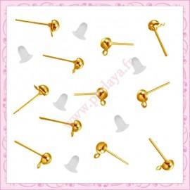 200 clous dorés + 200 bouchons pour boucle d'oreilles