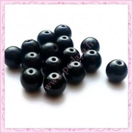 50 perles en verre nacrées 10mm noires
