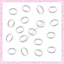 1000 anneaux argentés ovales 5mm