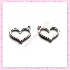 15 breloques coeur en métal argentées 1.6cm