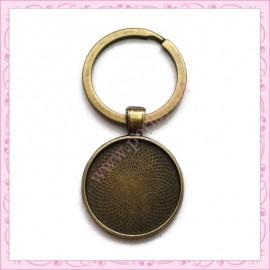 5 portes-clés bronze avec support de 25mm pour cabochon