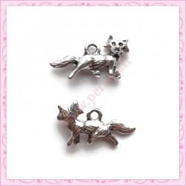 15 breloques renard argentées en métal 22mm