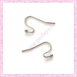 200 crochets argentés en métal pour boucle d'oreille 21mm