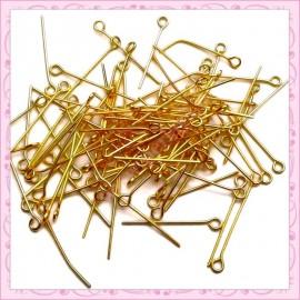 500 tiges dorés à oeil 24mm en métal