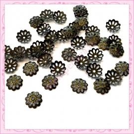 1000 calottes 8mm filigranées bronze en métal