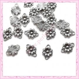 50 connecteurs fleurs 14mm argentés en métal