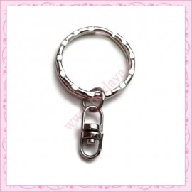 50 anneaux porte-clef 25mm mat en métal