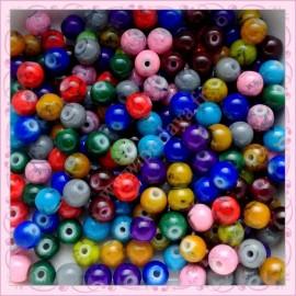 Mix de 200 perles en verre 6mm effet tacheté