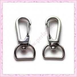 20 mousquetons porte-clefs argentés de 3cm