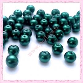 50 perles en verre nacrées 8mm verte