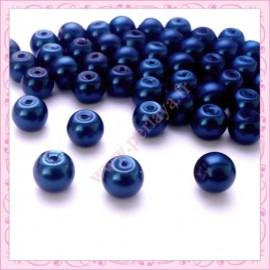50 perles en verre nacrées 8mm bleu nuit
