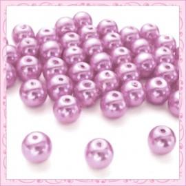 50 perles en verre nacrées 8mm violet pastel