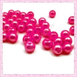 50 perles en verre nacrées 8mm rose fushia