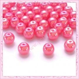 50 perles en verre nacrées 8mm rose pastel