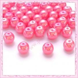 50 perles en verre nacrées 8mm rose