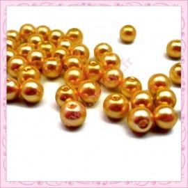 50 perles en verre nacrées 8mm orange