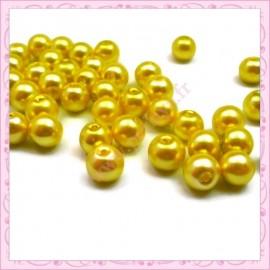 50 perles en verre nacrées 8mm jaune