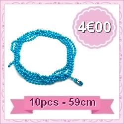 collier chaine bille bleu